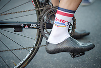 Adam Hansen selfmade carbon cycling shoes (108 gr)<br /> <br /> Tour de France 2013<br /> stage 16: Vaison-la-Romaine to Gap, 168km
