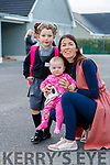 Clara Kate O'Connor, attending her first day of school at Scoil Nuachabháil, Ballymacelligott, on Wednesday morning last, pictured with her mom Christina and sister Alice O'Connor.