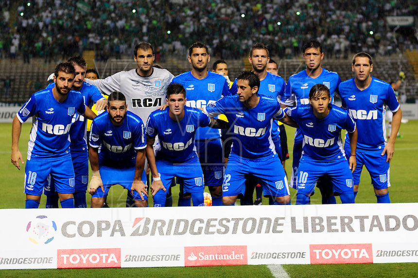 CALI -COLOMBIA-17-03-2016: Jugadores del Racing Club posan para una foto previo al encuentro entre Deportivo Cali (COL) y Racing Club de Argentina por la fecha 3, G3, de la Copa Bridgestone Libertadores 2016 jugado en el estadio Palmaseca de la ciudad de Cali./ Players of Racing Club pose to a photo prior the match between Deportivo Cali (COL) and Racing Club of Argentina for the date 3, G3, of the Copa Bridgestone Libertadores 2016 played at Palmaseca stadium in Cali city.  Photo: VizzorImage/ NR /Cont
