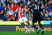 9th September 2017, bet365 Stadium, Stoke-on-Trent, England; EPL Premier League football, Stoke City versus Manchester United; Eric Maxim Choupo-Moting of Stoke City is watched by Nemanja Matic of Manchester United