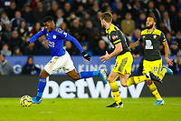 11th January 2020; King Power Stadium, Leicester, Midlands, England; English Premier League Football, Leicester City versus Southampton; Kelechi Iheanacho of Leicester City breaks past the Southampton defence - Strictly Editorial Use Only. No use with unauthorized audio, video, data, fixture lists, club/league logos or 'live' services. Online in-match use limited to 120 images, no video emulation. No use in betting, games or single club/league/player publications
