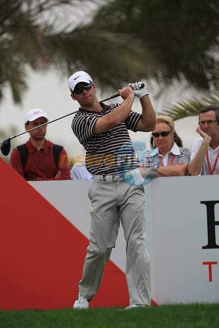 Paul Casey teeing off on the 9th tee on day one of the Abu Dhabi HSBC Golf Championship 2011, at the Abu Dhabi golf club, UAE. 20/1/11..Picture Fran Caffrey/www.golffile.ie.