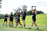 Ben Tapuai, Rhys Priestland and Rory Jennings of Bath Rugby in action. Bath Rugby pre-season skills training on June 22, 2017 at Farleigh House in Bath, England. Photo by: Patrick Khachfe / Onside Images
