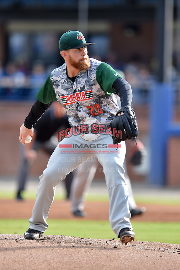 Augusta GreenJackets starting pitcher Jake McCasland (20) delivers a pitch during a game against the Asheville Tourists at McCormick Field on August 6, 2016 in Asheville, North Carolina. The GreenJackets defeated the Tourists 11-4. (Tony Farlow/Four Seam Images)