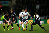 1st February 2019, Deepdale, Preston, England; EFL Championship football, Preston North End versus Derby County; Sean Maguire of Preston North End takes on George Evans and Duane Holmes of Derby County