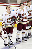 Alex Carpenter (BC - 5), Melissa Bizzari (BC - 4), Kristina Brown (BC - 2) - The visiting Boston University Terriers defeated the Boston College Eagles 4-1 on Wednesday, November 2, 2011, at Kelley Rink in Conte Forum in Chestnut Hill, Massachusetts.