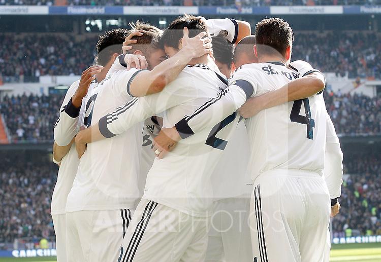 Real Madrid's Karim Benzema, Raphael Varane, Alvaro Morata, Fabio Coentrao, Sergio Ramos and Pepe celebrate goal during La Liga match.March 02,2013. (ALTERPHOTOS/Acero)