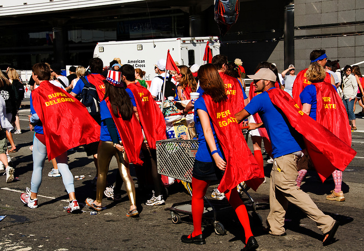 California, San Francisco: Bay to Breakers runners in costumes of superheroes as Super Delegates, in 2008, reflecting the political drama of the moment..Photo #: 31-casanf80883.Photo © Lee Foster 2008