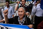 Rebiya Kadeer, JUNE 29, 2019 - Rebiya Kadeer, a political activist for China Uyghur ethnic minority, leads a demonstration against the Chinese government's treatment of the ethnic group at a demonstration during the G20 Summit in Osaka, Japan. (Photo by Ben Weller/AFLO) (JAPAN) [UHU]