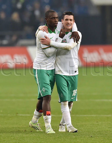 24.01.2016. Gelsenkirchen, Germany. German Bundesliga soccer match between FC Schalke 04 and Werder Bremen in the Veltins Arena. Goal celebrations from Anthony Ujah (Werder Bremen) and Zlatko Junuzovic (Werder Bremen)