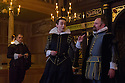 London, UK. 14.01.2014. The new Sam Wanamaker Playhouse, at Shakespeare's Globe, opens with The Duchess of Malfi, by John Webster, directed by Dominic Dromgoole. Picture shows: Brendan O'Hea (Pescara), David Dawson (Ferdinand) and John Dougall (Castruccio). Photograph © Jane Hobson.