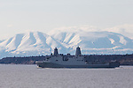 The US Navy transport ship the USS Anchorage leaves Anchorage, Alaska.