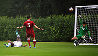 Pictured: Jordan Garrick of Swansea (L) fails to score.  Friday 11 August 2017<br /> Re: Premier League 2, Division 1, Swansea City U23 v Liverpool U23 at the Landore Training Ground, Swansea, UK