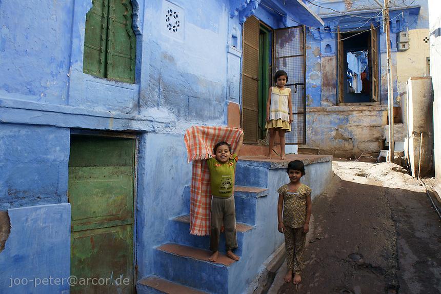 children in the streets of Jodhpur,  Rajastan, India