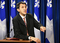 Quebec Solidaire co-leader Amir Khadir gestures as he speaks during a press conference at the National Assembly in Quebec City Thursday November 18, 2010.<br /> <br /> PHOTO :  Francis Vachon - Agence Quebec Presse