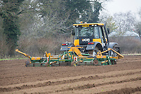 Dean Bartam Agricultural Contractor cultivating beds for onion sets - Norfolk, February