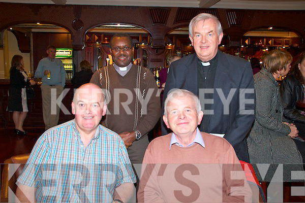 Fundraising ceili at the Devon Inn Hotel, Templeglantine for Fr. Chris O'Donnel and his missions in Argentina.  Pictured front row L-R: Michael Keily of Templeglantine and Connie O'Donnell of Templeglantine. Back row L-R: Fr. Martin Mariedia from Tanzania and Fr. Chris O'Donnell of Templeglantine.