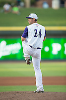 Winston-Salem Dash starting pitcher Brandon Brennan (24) in action against the Wilmington Blue Rocks at BB&T Ballpark on July 30, 2015 in Winston-Salem, North Carolina.  The Dash defeated the Blue Rocks 7-3.  (Brian Westerholt/Four Seam Images)