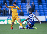 Preston North End's Andrew Hughes (left) is tackled by Reading's Yakou Meite (right) <br /> <br /> Photographer David Horton/CameraSport<br /> <br /> The EFL Sky Bet Championship - Reading v Preston North End - Saturday 19th October 2019 - Madejski Stadium - Reading<br /> <br /> World Copyright © 2019 CameraSport. All rights reserved. 43 Linden Ave. Countesthorpe. Leicester. England. LE8 5PG - Tel: +44 (0) 116 277 4147 - admin@camerasport.com - www.camerasport.com