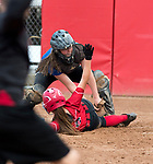 STRATFORD, CT-060518JS04--  Wamogo's Savannah Wheeler (20) slides in to score under the tag from Stafford's Megan McDermott (8)  during their Class S semifinal game Wednesday at DeLuca Field in Stratford. <br /> Jim Shannon Republican American