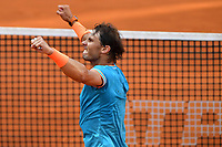 Rafael Nadal of Spain celebrates at the end of the final match played against Novak Djokovic of Serbia. Rafael Nadal won 6-0, 4-6, 6-1 <br /> Roma 19/05/2019 Foro Italico  <br /> Internazionali BNL D'Italia Italian Open <br /> Photo Andrea Staccioli / Insidefoto
