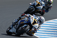 Marco Melandri (ITA) riding the BMW S1000 RR HP4 (33) of the BMW Motorrad GoldBet SBK Team rounds turn 6 during a qualifying session on day one of round one of the 2013 FIM World Superbike Championship at Phillip Island, Australia.