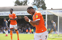 Blackpool's Nathan Delfouneso celebrates scoring his side's second goal<br /> <br /> Photographer Rob Newell/CameraSport<br /> <br /> The EFL Sky Bet Championship - Southend United v Blackpool - Saturday 10th August 2019 - Roots Hall - Southend<br /> <br /> World Copyright © 2019 CameraSport. All rights reserved. 43 Linden Ave. Countesthorpe. Leicester. England. LE8 5PG - Tel: +44 (0) 116 277 4147 - admin@camerasport.com - www.camerasport.com