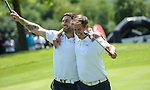 England&rsquo;s Peter Jones and Matt Banahan celebrate on the ninth green <br /> <br /> Golf - Day 1 - Celebrity Cup - Saturday 4th July 2015 - Celtic Manor Resort  - Newport<br /> <br /> &copy; www.sportingwales.com- PLEASE CREDIT IAN COOK