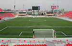 27 April 2007: A lengthwise view up the field from the South Stand.  BMO Field in Toronto, Ontario, Canada on the day before it was scheduled open with the inaugural home match of Major League Soccer expansion team Toronto FC.