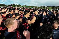 Hastings players and supporters perform a haka after the 2017 1st XV rugby Top Four boys final between Hastings Boys' High School and Hamilton Boys' High School at Sport and Rugby Institute in Palmerston North, New Zealand on Sunday, 10 September 2017. Photo: Dave Lintott / lintottphoto.co.nz