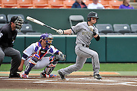 Second baseman Alec Paradowski (15) of the Wofford College Terriers bats in a game against the Clemson University Tigers on Tuesday, March 1, 2016, at Doug Kingsmore Stadium in Clemson, South Carolina. The Clemson catcher is Chris Okey. Clemson won, 7-0. (Tom Priddy/Four Seam Images)