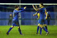 Freddy Moncur of Romford  (L) is congratulated after scoring the second Romford goal during Romford vs Coggeshall Town, BetVictor League North Division Football at the Brentwood Centre on 16th November 2019