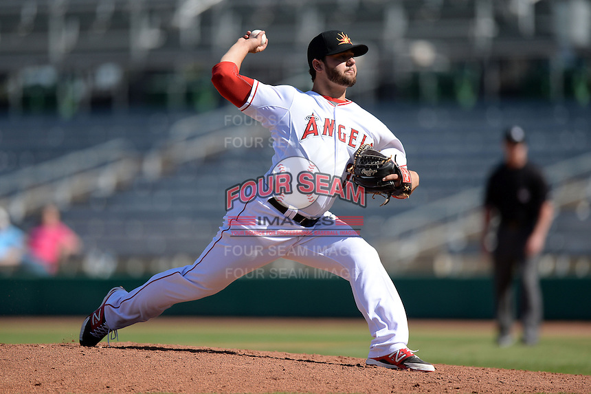 Mesa Solar Sox pitcher Cam Bedrosian (37), of the Los Angeles Angels of Anaheim organization, during an Arizona Fall League game against the Scottsdale Scorpions on October 15, 2013 at HoHoKam Park in Mesa, Arizona.  Mesa defeated Scottsdale 7-4.  (Mike Janes/Four Seam Images)