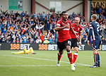 Alfredo Morelos celebrates after scoring the second goal for Rangers