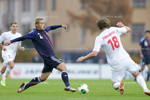 Keisuke Honda (JPN), OCTOBER 15, 2013 - Football / Soccer : International friendly match between Belarus 1-0 Japan at Torpedo Stadium, Zhodino, Belarus. (Photo by AFLO) [2268]