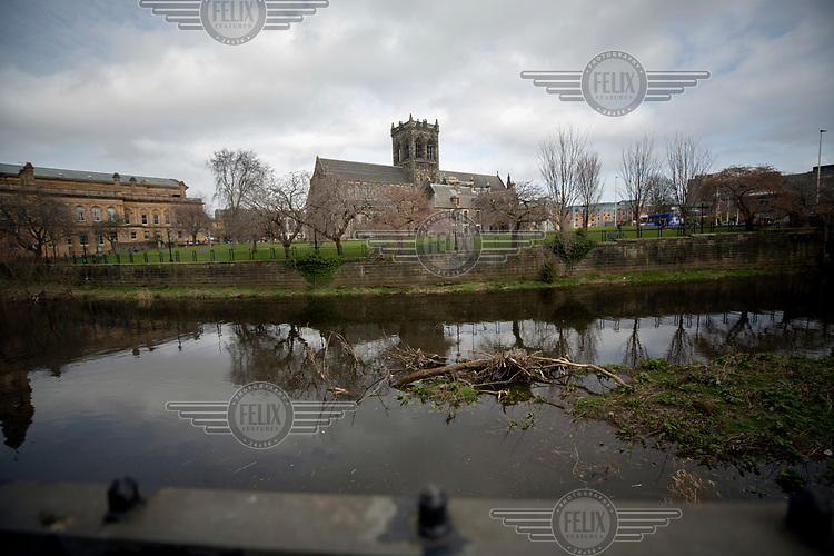 Paisley Abbey, beside White Cart Water, the site which marks the origin of the settlement where it is believed St Mirren first founded a church in the 7th century. The church became a protestant site following the reformation.