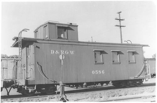 Caboose #0586 at Alamosa.<br /> D&amp;RGW  Alamosa, CO  6/1969
