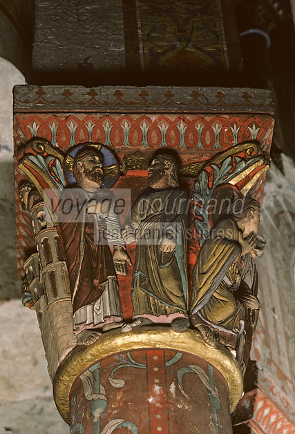 Europe/France/Auverne/63/Puy-de-Dôme/Issoire: L'abbatiale Saint-Austremoine - Détail chapiteau de la Passion