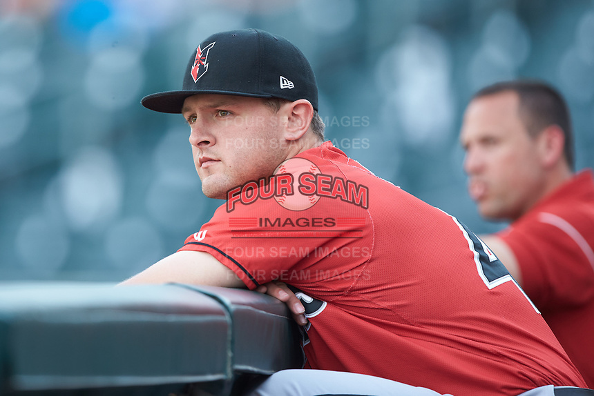 Jerrick Suiter (45) of the Indianapolis Indians prior to the game against the Charlotte Knights at BB&T BallPark on May 26, 2018 in Charlotte, North Carolina. The Indians defeated the Knights 6-2.  (Brian Westerholt/Four Seam Images)