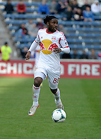 New York forward Peguy Luyindula (88) dribbles up the field.  The Chicago Fire defeated the New York Red Bulls 3-1 at Toyota Park in Bridgeview, IL on April 7, 2013.