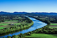 The Connecticut River winds through fertile farmland, Massachusetts, USA.