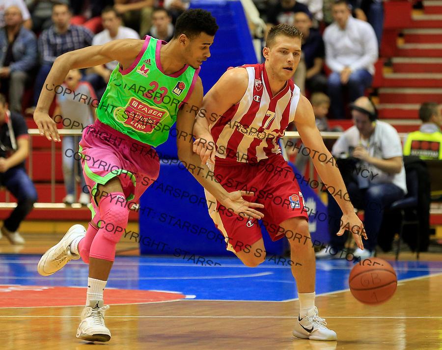 Kosarka ABA League season 2015-2016<br /> Crvena Zvezda v Mega Leks<br /> Gal Mekel (R) and Timoth&eacute; Luwawu-Cabarrot<br /> Beograd, 01.10.2015.<br /> foto: Srdjan Stevanovic/Starsportphoto&copy;