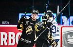 Stockholm 2014-10-02 Ishockey Hockeyallsvenskan AIK - BIK Karlskoga :  <br /> AIK:s Victor Ekarv jublar Michael Lindqvist efter sitt 1-0 m&aring;l<br /> (Foto: Kenta J&ouml;nsson) Nyckelord:  AIK Gnaget Hockeyallsvenskan Allsvenskan Hovet Johanneshovs Isstadion Bofors BIK Karlskoga jubel gl&auml;dje lycka glad happy