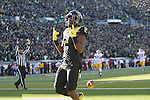 Nov 21, 2015; Eugene, OR, USA; Oregon Ducks wide receiver Bralon Addison (2) celebrates after making a touchdown against the USC Trojans at Autzen Stadium. <br /> Photo by Jaime Valdez