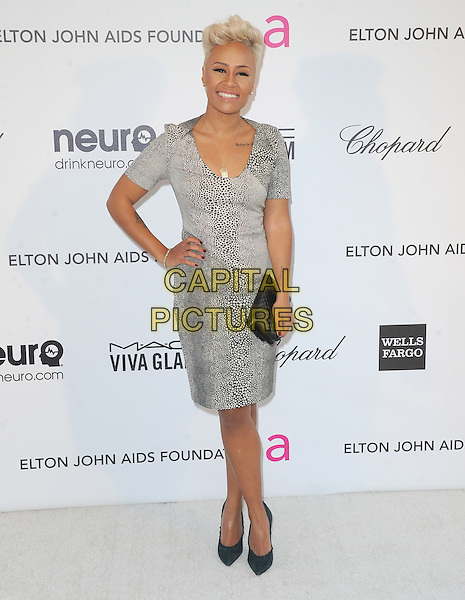 Emeli Sande.The 21st Annual Elton John AIDS Foundation Academy Awards Viewing Party held at The City of West Hollywood Park in West Hollywood, California, USA..February 24th, 2013.oscars full length grey gray white black print dress hand on hip clutch bag                                                 .CAP/DVS.©DVS/Capital Pictures.