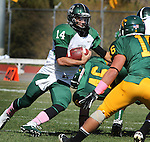 SPEARFISH, S.D. -- Adams State quarterback Justin Juda runs into Black Hills State defenders during their Rocky Mountain Athletic Conference college football game Saturday afternoon at Lyle Hare Stadium in Spearfish, S.D. (Photo by Richard Carlson/Inertia)(Photo by Richard Carlson/Inertia)