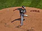 1 April 2013: Miami Marlins pitcher Ricky Nolasco on the mound during the Opening Day Game against the Washington Nationals at Nationals Park in Washington, DC. The Nationals shut out the Marlins 2-0 to launch the 2013 season. Mandatory Credit: Ed Wolfstein Photo *** RAW (NEF) Image File Available ***