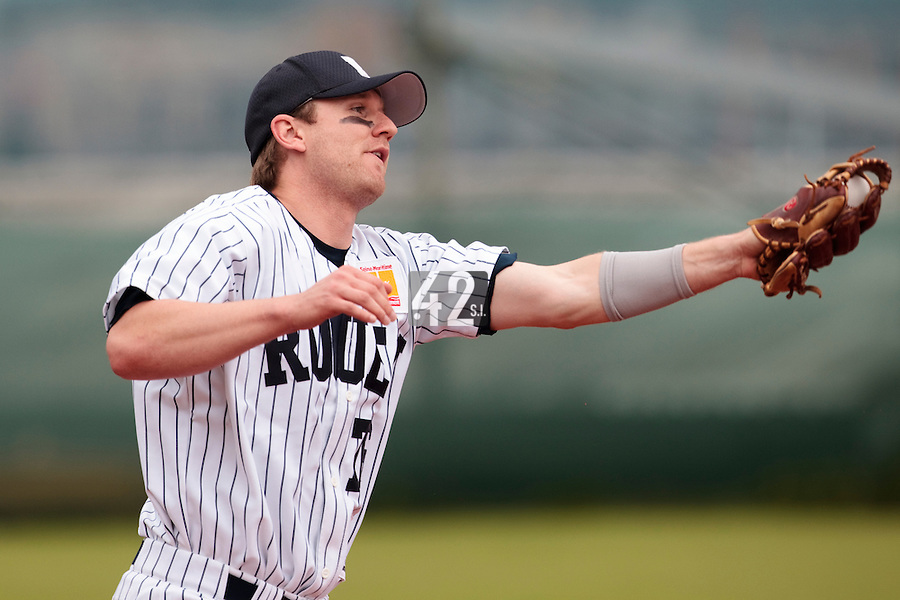 03 June 2010: Shortstop Aaron Hornostaj of Rouen catches a ball during the 2010 Baseball European Cup match won  8-4 by C.B. Sant Boi over the Rouen Huskies, at the Kravi Hora ballpark, in Brno, Czech Republic.