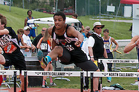 Woodland Sr. Tyler Golden clears a hurdle on his way to a 13th-place finish in the Class 2 110-meter hurdles in 17.73.