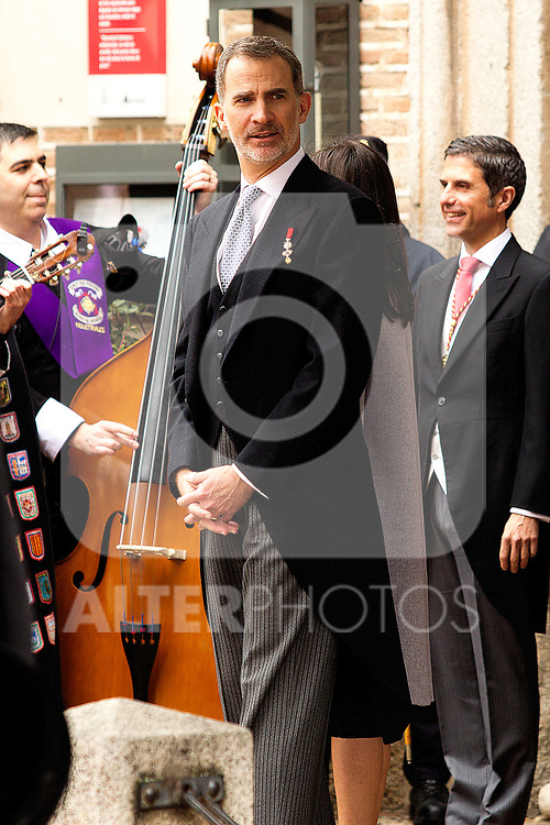 King Felipe VI of Spain during the Cervantes Literature Prize ceremony at the University of Alcala in Madrid on April 23, 2019. (ALTERPHOTOS/Alconada).